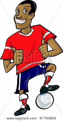 Cartoon footballer with thumbs up