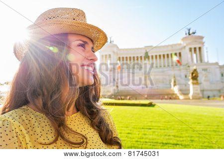 Profile Portrait Of Happy Young Woman On Piazza Venezia In Rome,