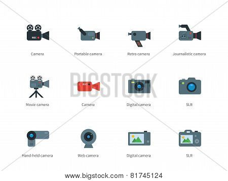 Camera color icons on white background.
