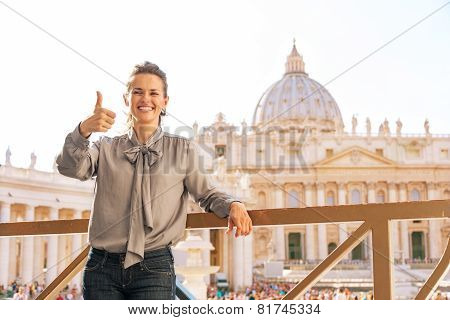 Happy Young Woman Showing Thumbs Up On Piazza San Pietro In Vatican City State