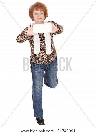 Senior Lady Standing With Blank Card. Isolated