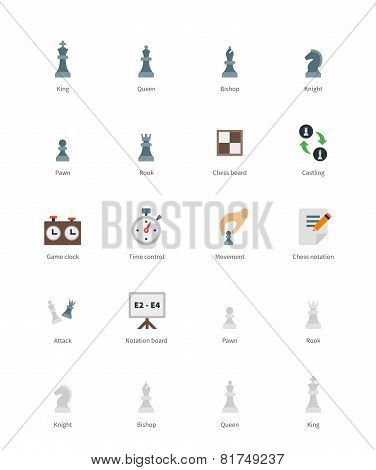 Chess colored icons on white background.