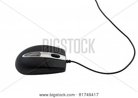Black Computer Mouse On White Background.