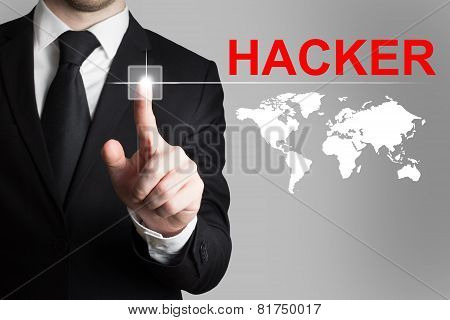 Businessman Pushing Button Hacker Worldmap