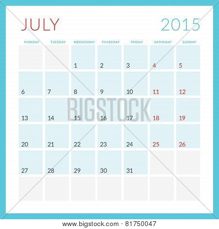 Calendar 2015 Vector Flat Design Template. July. Week Starts Monday