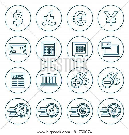 Financial And Money Flat Line Icons Set