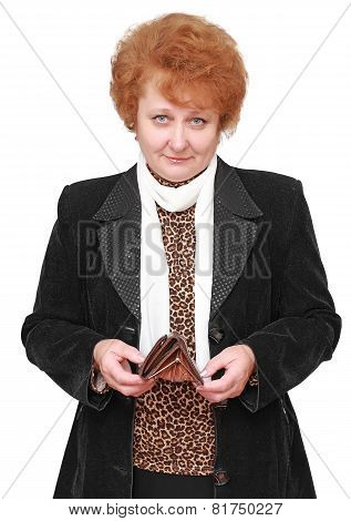 Senior Lady With Empty Wallet . Isolated