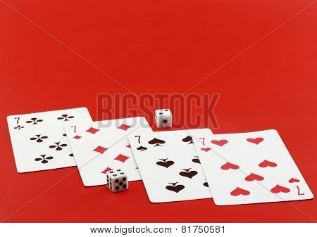 Playing Cards On Cololur Broadcloth.