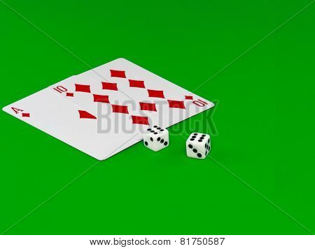 The Dice And Playing Cards -