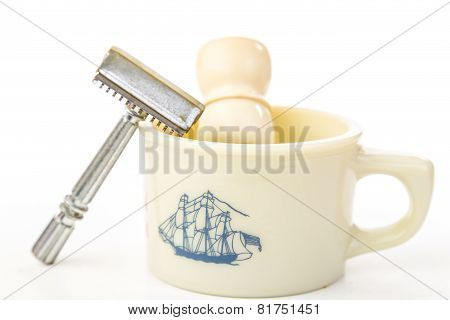 Antique Safety Razor And Shaving Mug
