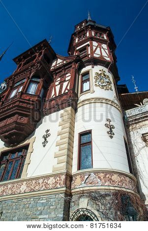 Peles Castle In The Carpathians Mountains, Romania.