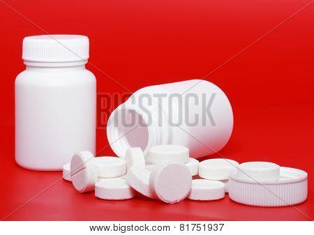 Medicine Bottles, Pills On Colour Background.