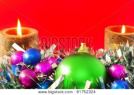New Year Decoration-balls ,candels On Red.