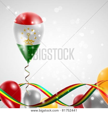 Flag of Tajikistan on balloon