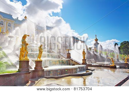 Grand Cascade In Pertergof, Saint-petersburg, Russia.