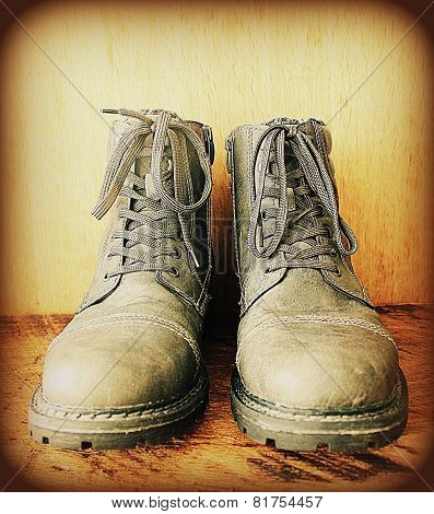 Vintage photo of boots