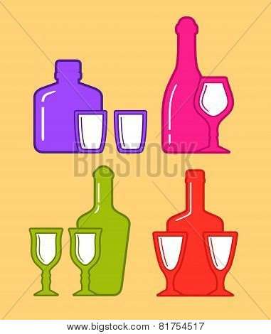 set isolated coorful bottles and glassses icons