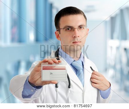 Friendly Medical Doctor With Blank Card (badge).