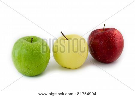 Three Apples-in Traffic Light Form. Isolated