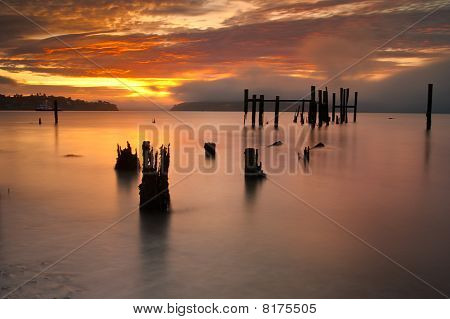 Sunrise Over an Inlet in Sausalito