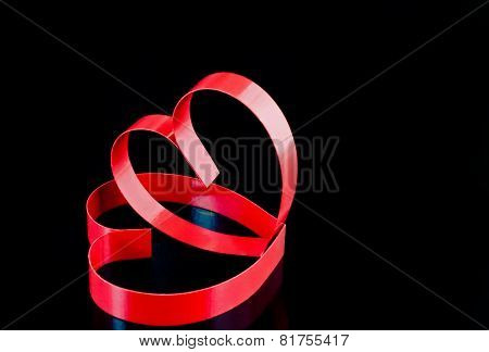 St. Valentine Day.two Hearts, On Black Background