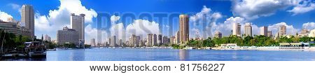 Panorama On Cairo, Seafront Of Nile River.