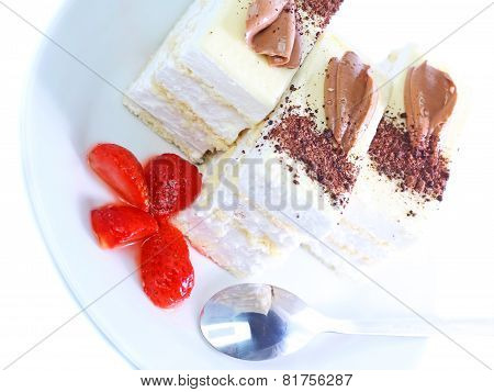 Sponge Cakes, Frozen Strawberr . Isolated