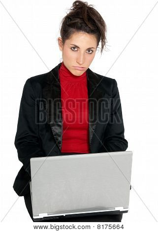 Young Businesswoman Tired About Laptop Isolated On White Background
