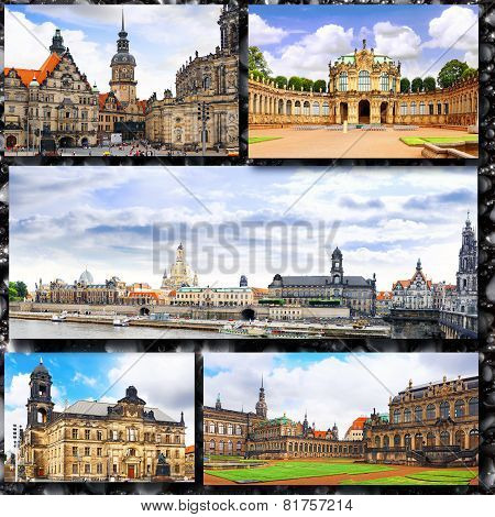 Collage Of Beautiful Dresden. Germany.