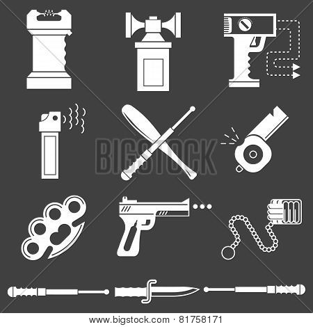 White icons vector collection of self-defense