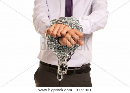 Businessman Hands Fettered With Chain And Padlock, Job Slave Symbol, Isolated On White Background