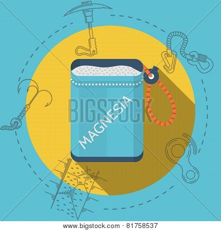 Flat design vector illustration for rock climbing. Magnesia