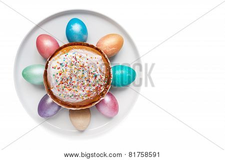 Easter eggs on the white plate