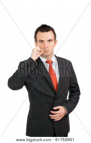 Businessman Show Gesture Close Mouth. Isolated