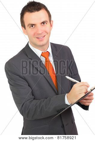 Businessman With Organizer And Pen. Isolated