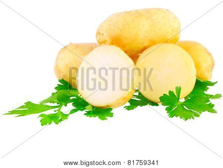 Young Potatoes, Decorating Of Parsley . Isolated