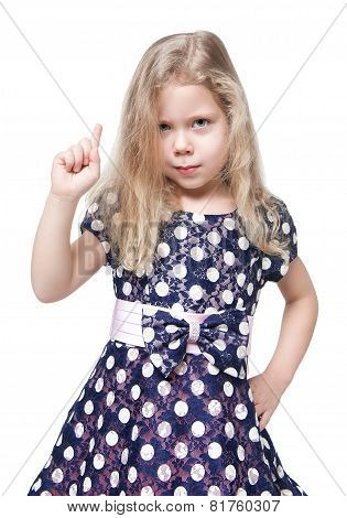 Strict Beautiful Little Girl With Blond Hair Isolated
