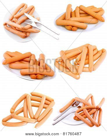Collection (set)of Fresh Sausage On Plate.isolated