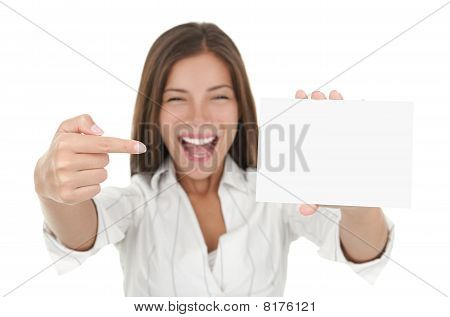 Excited Woman Showing Blank Sign