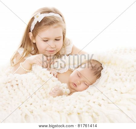 Baby Girl And Newborn Boy, Sister Little Child And Sleeping Brother New Born Kid, Birthday In Family