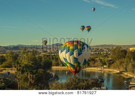Hot Air Balloons soar over Lake Havasu Arizona