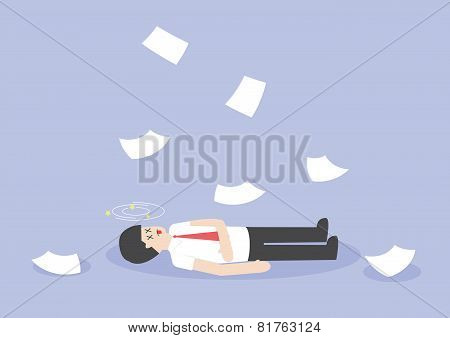 Businessman Work Hard And Unconscious On The Floor