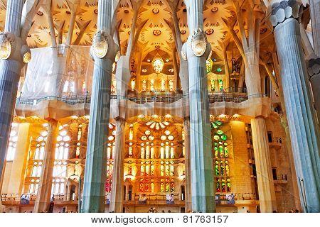 BARCELONA, SPAIN - SEPTEMBER 04: Sagrada Familia,beautiful and majestic  interior.