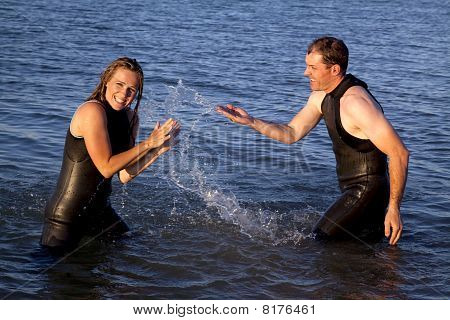 Couple Playing Water