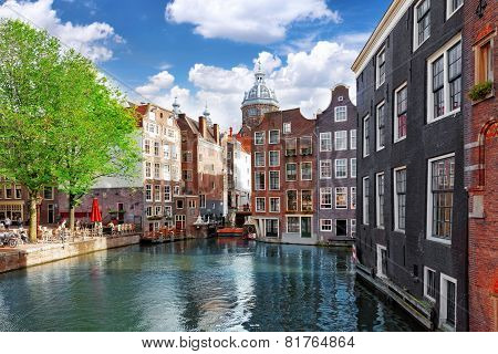 Amsterdam With Canal In The Downtown,holland.