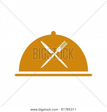 Restaurant Icon With Cloche And Flatware