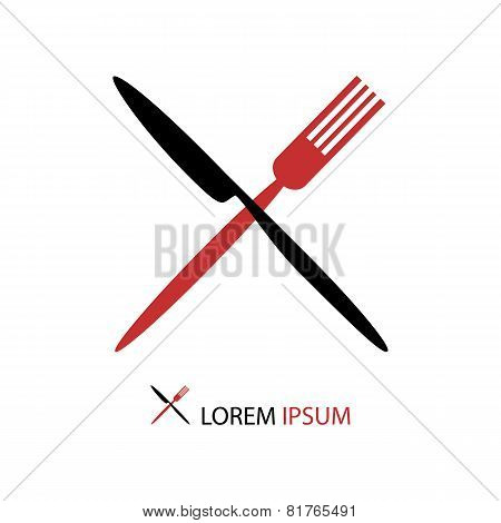 Crossed Black And Red Flatware