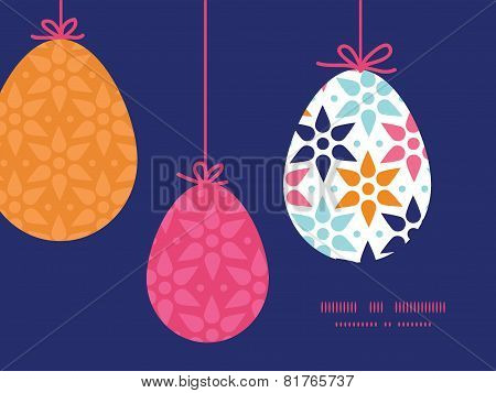 Vector abstract colorful stars hanging Easter eggs ornaments sillhouettes frame card template