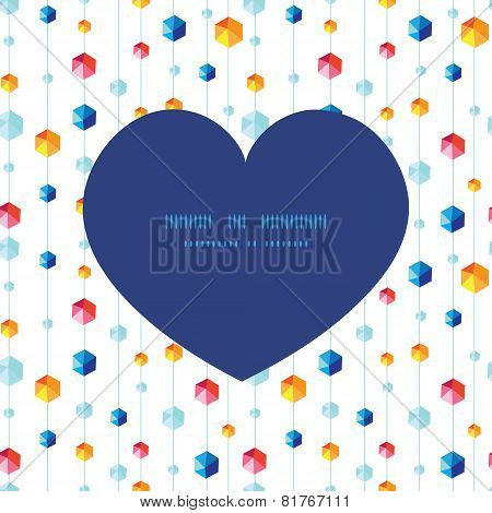 Vector abstract hanging jewels striped heart silhouette pattern frame