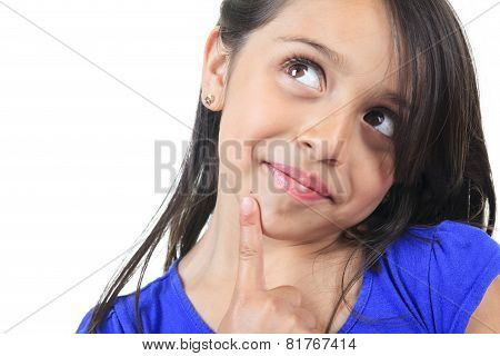 Columbian Little Girl Fun Look in front of a white background